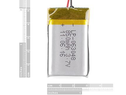 باتری لیتیوم پلیمر 3/7 ولت 850 میلی آمپر