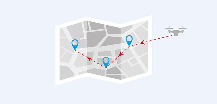 مسیردهی بر روی نقشه کوادکوپتر باگز 5W